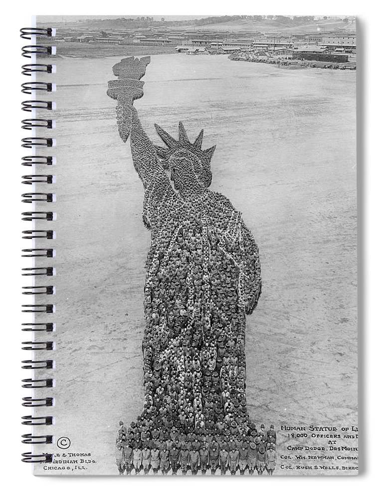 Liberty Spiral Notebook featuring the painting 18,000 Officers And Men Form The Statue Of Liberty At Camp Dodge In Iowa. 1917 by Celestial Images