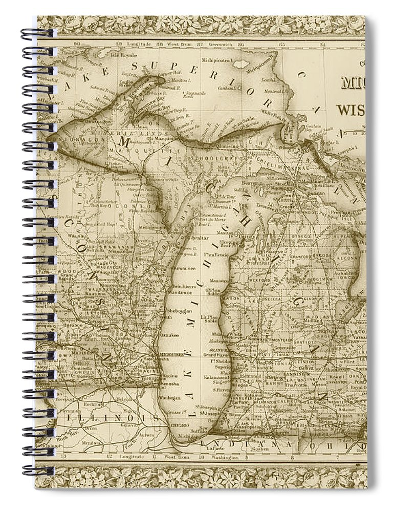 Michigan And Wisconsin Map.1800s Historical Michigan And Wisconsin Map Sepia Spiral Notebook