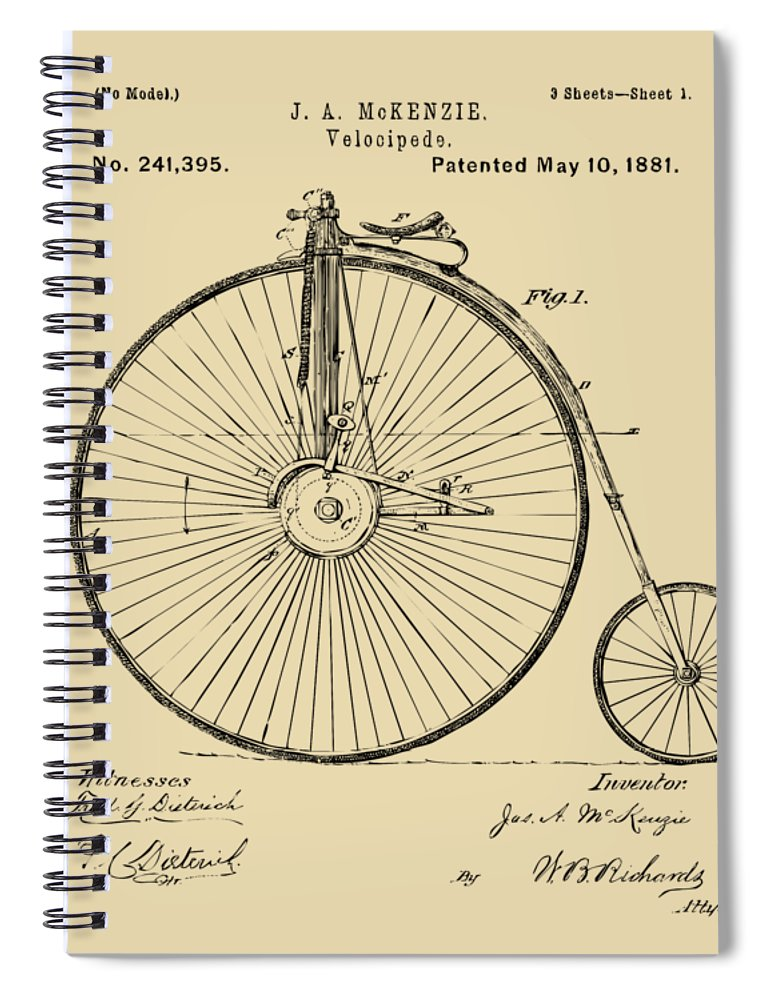 Velocipede Spiral Notebook featuring the digital art 1881 Velocipede Bicycle Patent Artwork - Vintage by Nikki Marie Smith