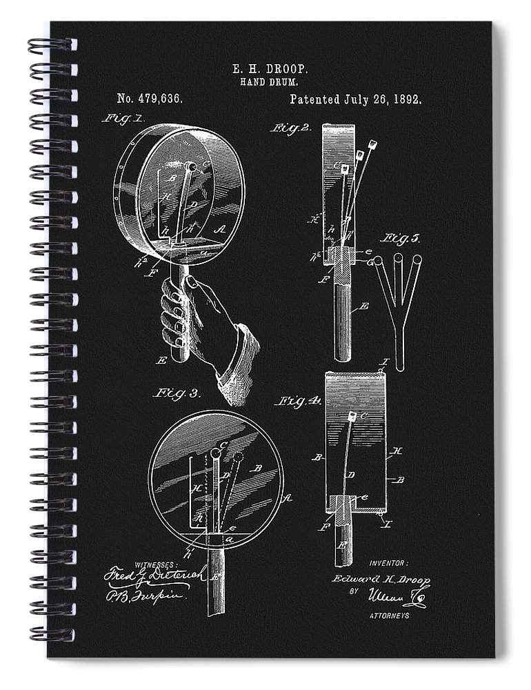 1892 Hand Drum Patent Spiral Notebook featuring the mixed media 1892 Hand Drum Patent by Dan Sproul