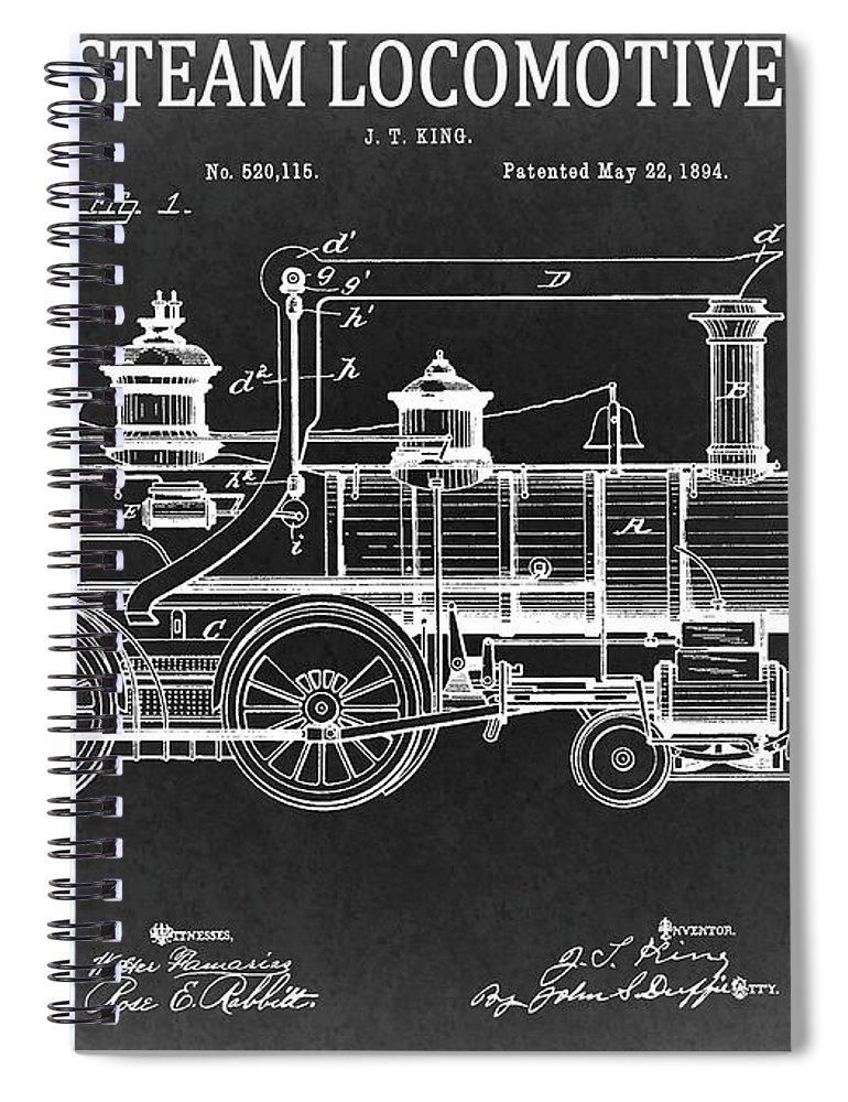 1894 steam locomotive blueprint spiral notebook for sale by dan sproul 1894 steam locomotive patent spiral notebook featuring the drawing 1894 steam locomotive blueprint by dan sproul malvernweather Images