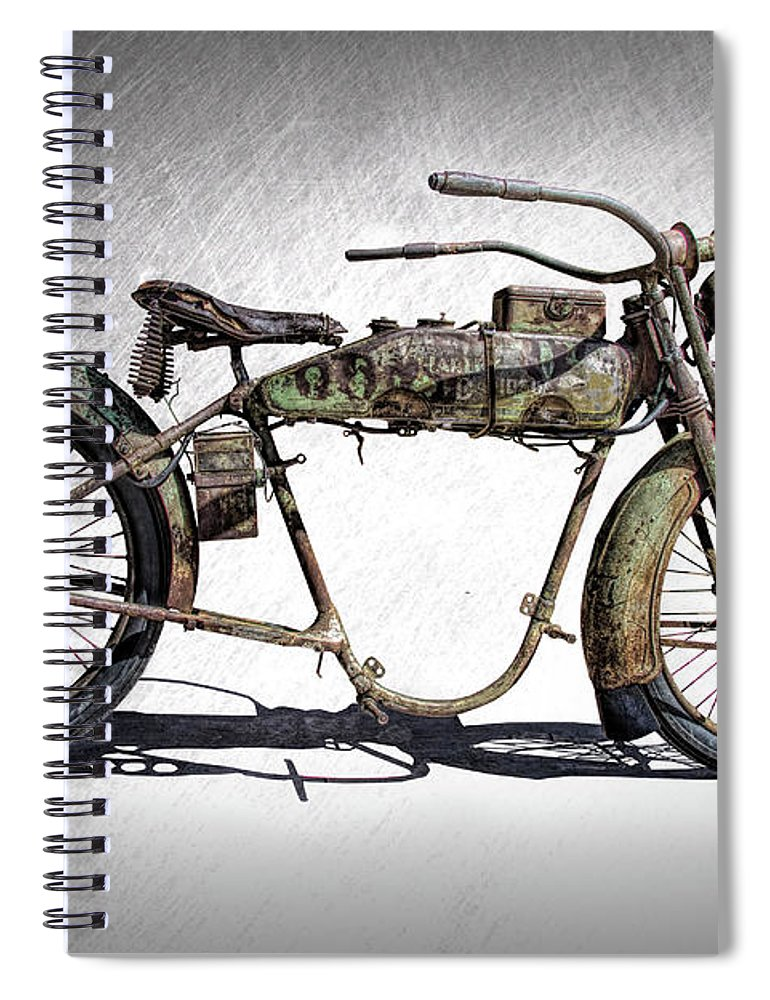 1918 Harley Davidson Motorcycle Frame Spiral Notebook For Sale By