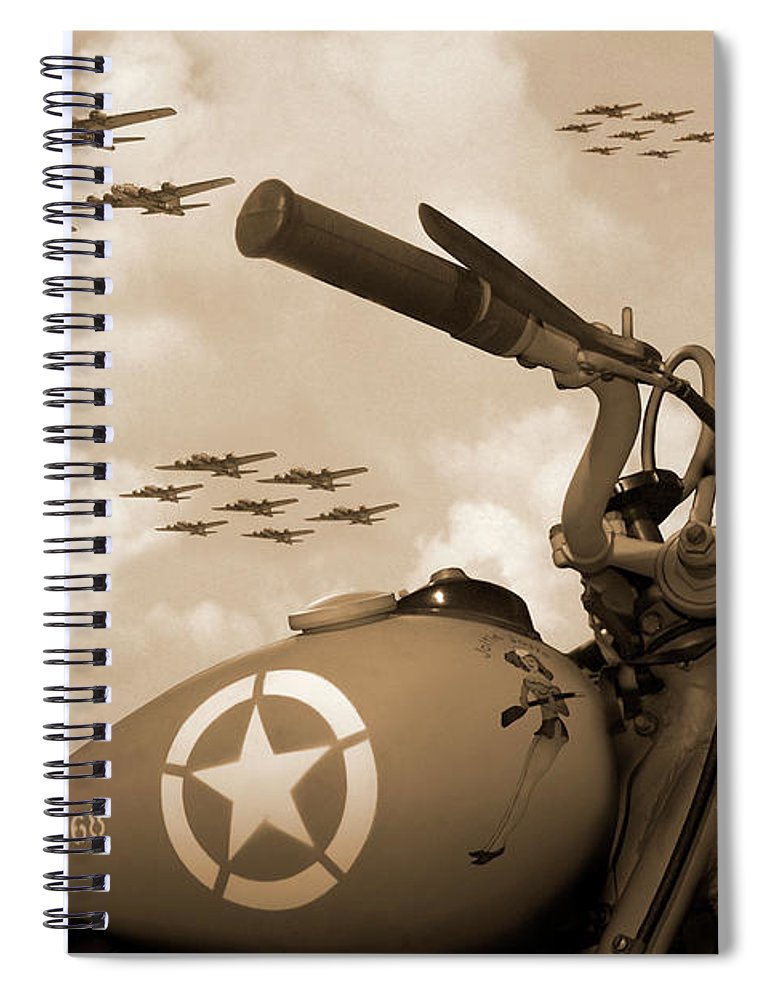 Warbirds Spiral Notebook featuring the photograph 1942 Indian 841 - B-17 Flying Fortress - H by Mike McGlothlen