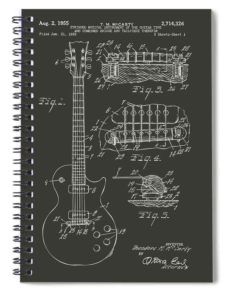 Guitar Spiral Notebook featuring the digital art 1955 McCarty Gibson Les Paul Guitar Patent Artwork - Gray by Nikki Marie Smith