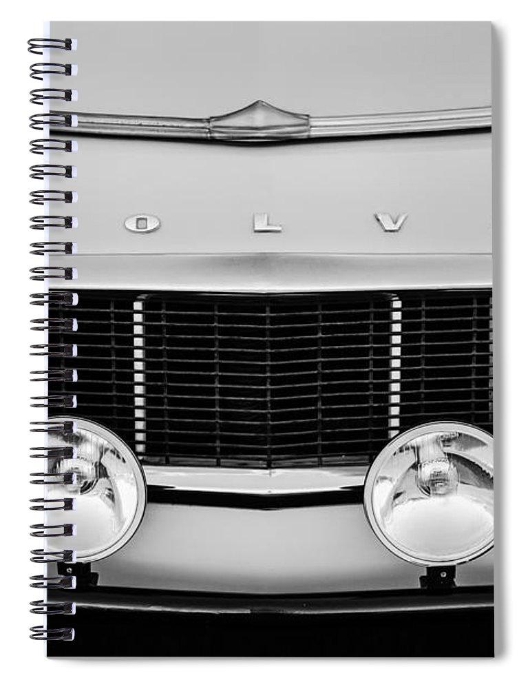 1961 Volvo Pv544 Grille Emblem Spiral Notebook featuring the photograph 1961 Volvo PV544 Grille Emblem -1511bw by Jill Reger