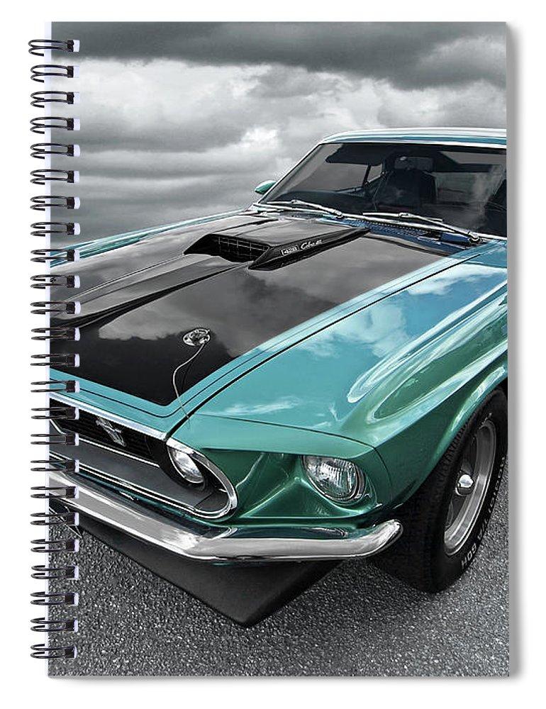 1969 Green 428 Mach 1 Cobra Jet Ford Mustang Spiral Notebook