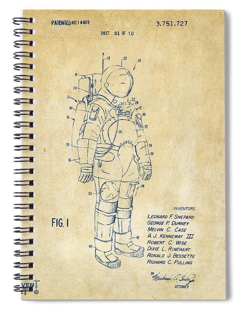 Space Suit Spiral Notebook featuring the digital art 1973 Space Suit Patent Inventors Artwork - Vintage 1973 by Nikki Marie Smith