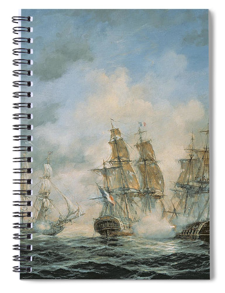 Seascape; Navel; Sea; Ship; Ships; Navel Engagement; Flag; Flags; Cloud; Clouds; Battle; Battling; Sailing; Sailing Ships Spiral Notebook featuring the painting 19th Century Naval Engagement In Home Waters by Richard Willis