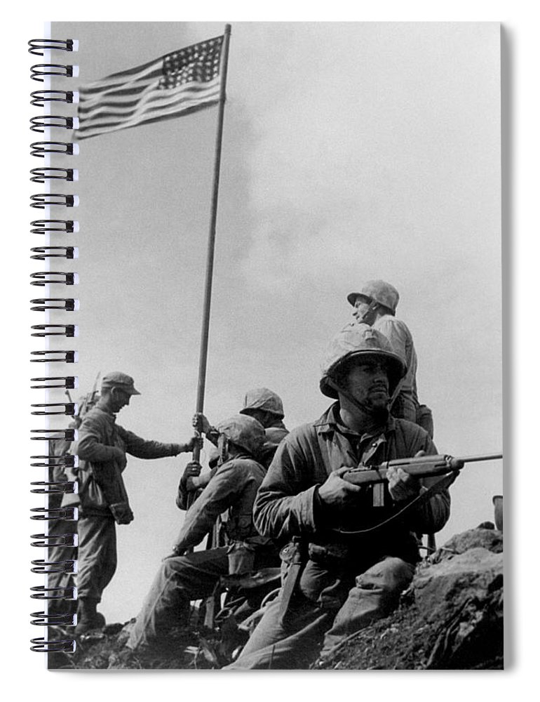 Iwo Jima Spiral Notebook featuring the photograph 1st Flag Raising On Iwo Jima by War Is Hell Store