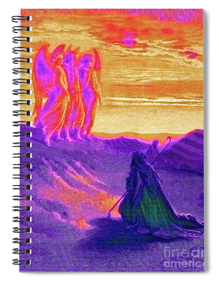Kneeling Spiral Notebook featuring the drawing Abraham And The Three Angels by Gustave Dore