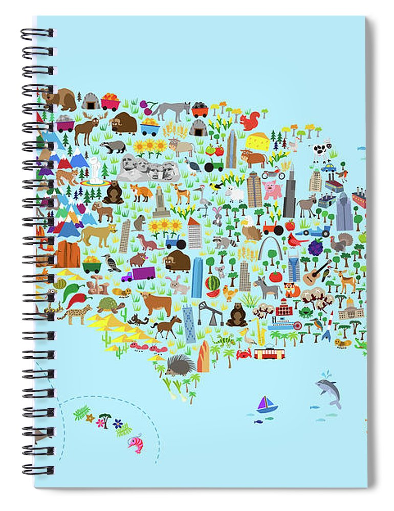 Animal Map Of United States For Children And Kids Spiral Notebook ...