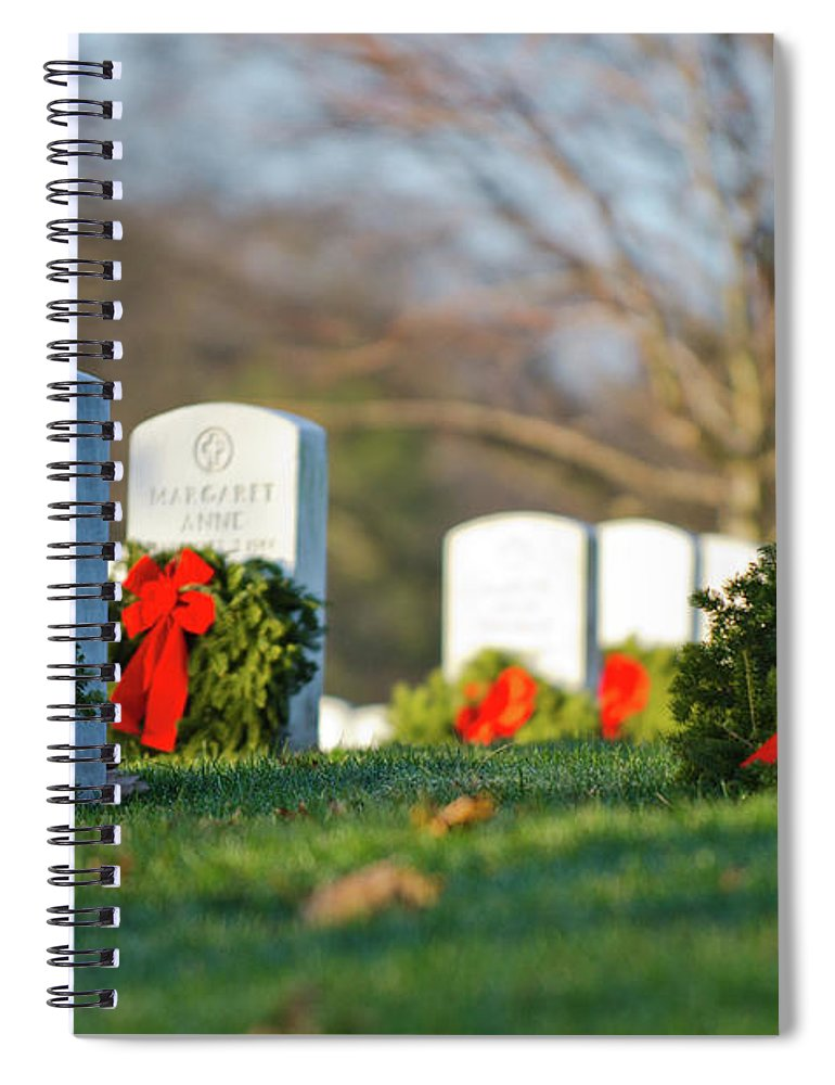 Washington Spiral Notebook featuring the photograph Arlington National Cemetery At Christmas by Craig Fildes