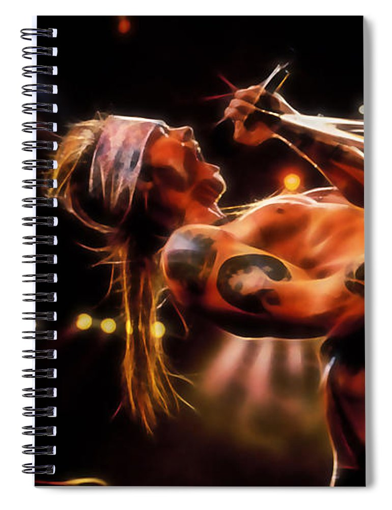 Axl Rose Spiral Notebook featuring the mixed media Axl Rose Collection by Marvin Blaine