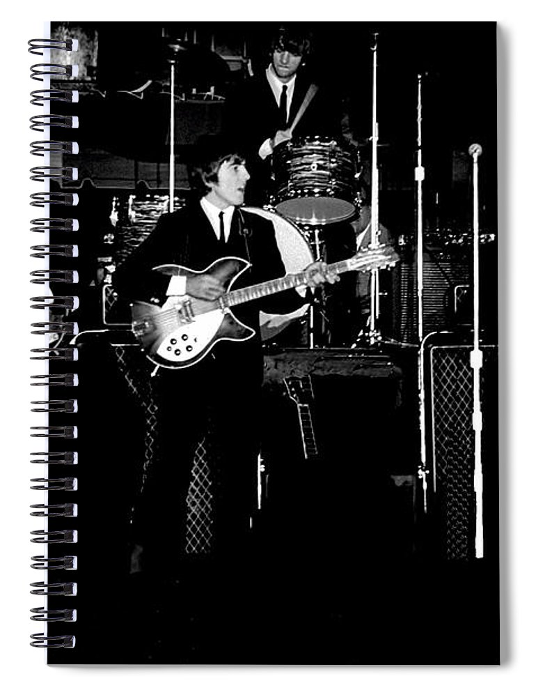 Beatles Spiral Notebook featuring the photograph Beatles In Concert 1964 by Larry Mulvehill