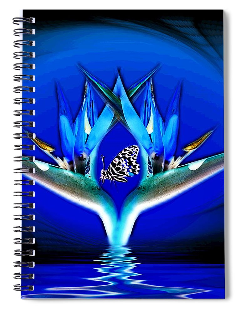 Bird Of Paradise Spiral Notebook featuring the digital art Blue Bird Of Paradise by Joyce Dickens