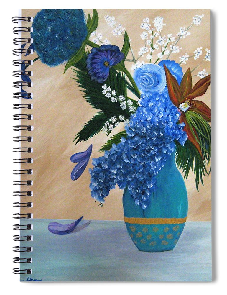 Flowers Spiral Notebook featuring the painting Blue Passion by Debbie Levene