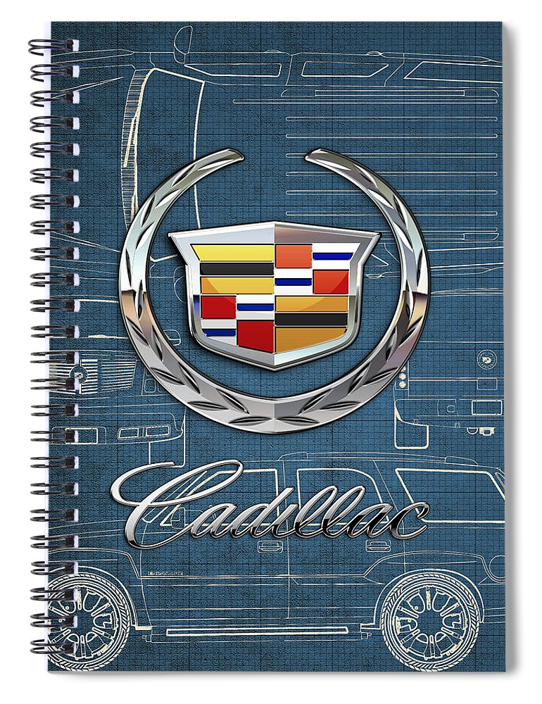 'wheels Of Fortune' By Serge Averbukh Spiral Notebook featuring the photograph Cadillac 3 D Badge over Cadillac Escalade Blueprint by Serge Averbukh