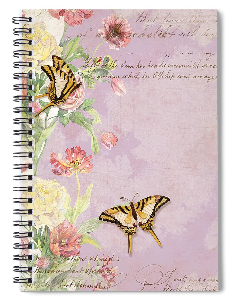Butterfly Spiral Notebook featuring the painting Fleurs De Pivoine - Watercolor W Butterflies In A French Vintage Wallpaper Style by Audrey Jeanne Roberts