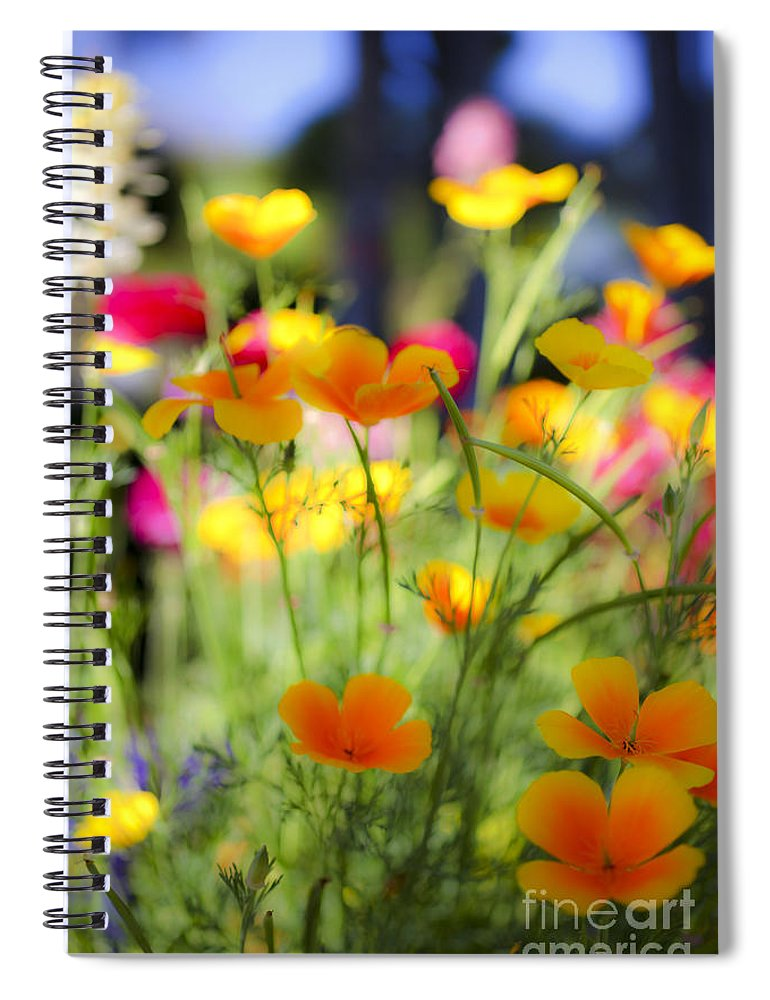 Yellow Spiral Notebook featuring the photograph Flowering Garden by Gal Eitan