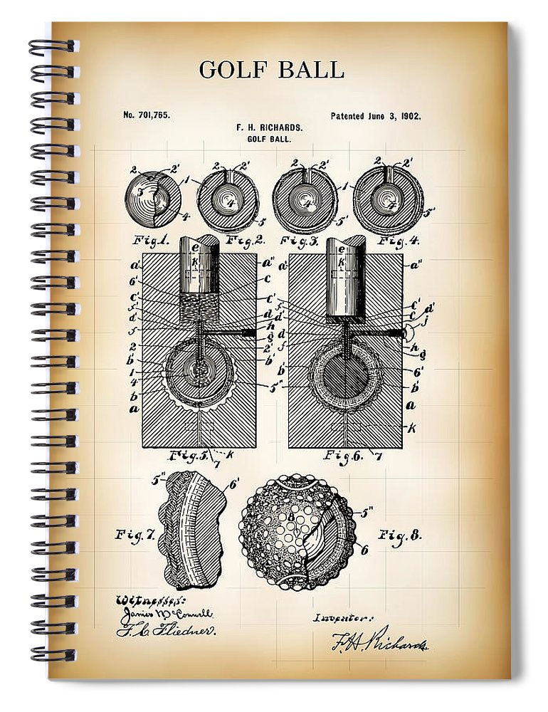 Patent Spiral Notebook featuring the digital art Golf Ball Patent 1902 by Daniel Hagerman