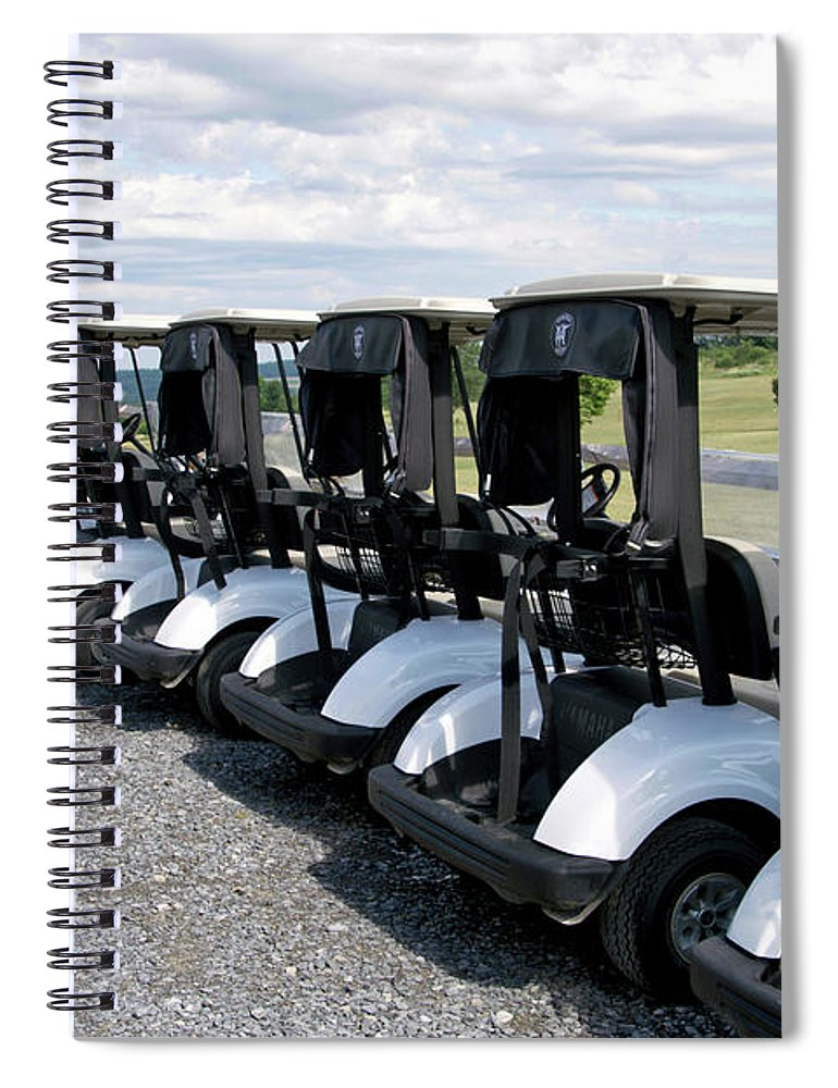 Tully New York Spiral Notebook featuring the photograph Golfing Golf Carts by Thomas Woolworth