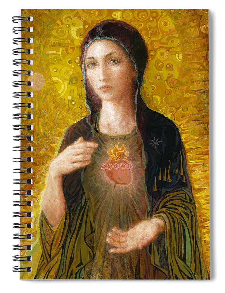 Mary Spiral Notebook featuring the painting Immaculate Heart of Mary by Smith Catholic Art