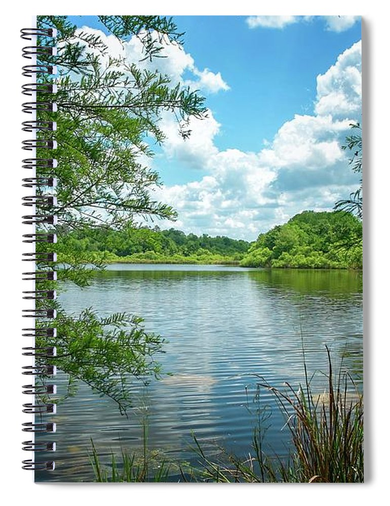 Lake Alice # # Florida # Gainesville Fl # University Of Florida Campus # Lake # United States # University Of Florida # Gainesville Fl # The Bat House # Florida Campus # The Baughman Center # Tree Canopy # Florida # Peaceful Scenery # Spiral Notebook featuring the photograph Lake Alice by Louis Ferreira