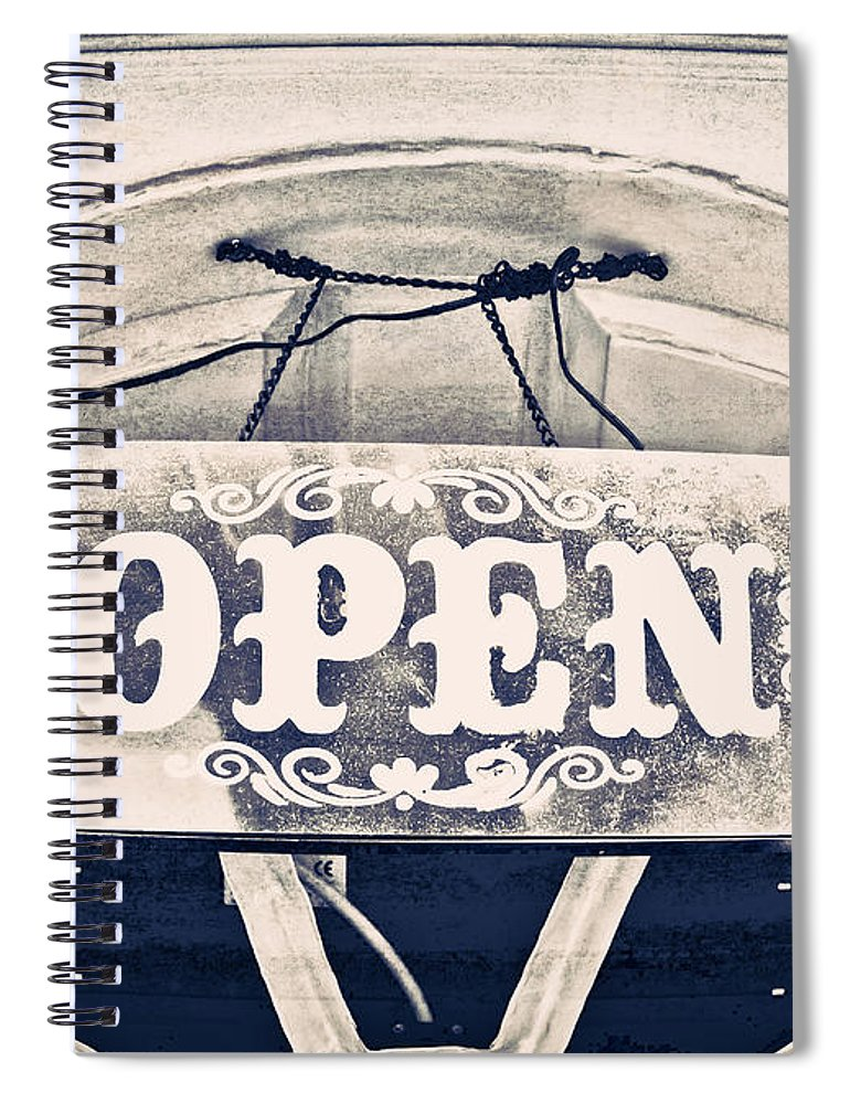 Bar Spiral Notebook featuring the photograph Open Sign by Tom Gowanlock