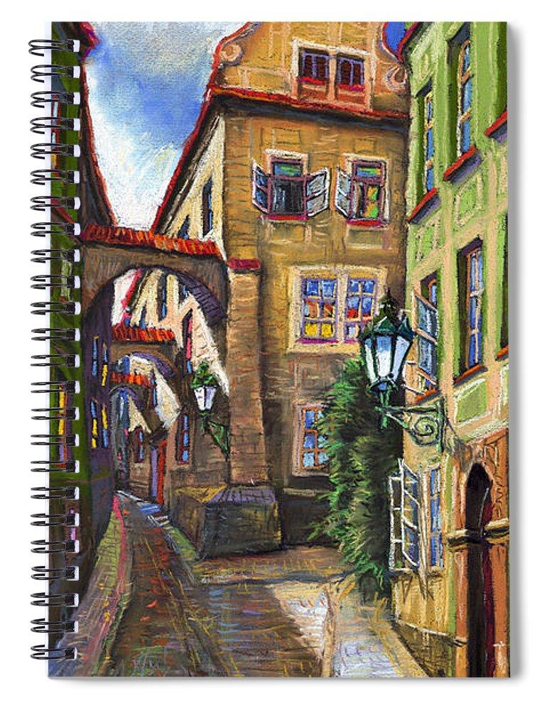 Prague Spiral Notebook featuring the painting Prague Old Street by Yuriy Shevchuk