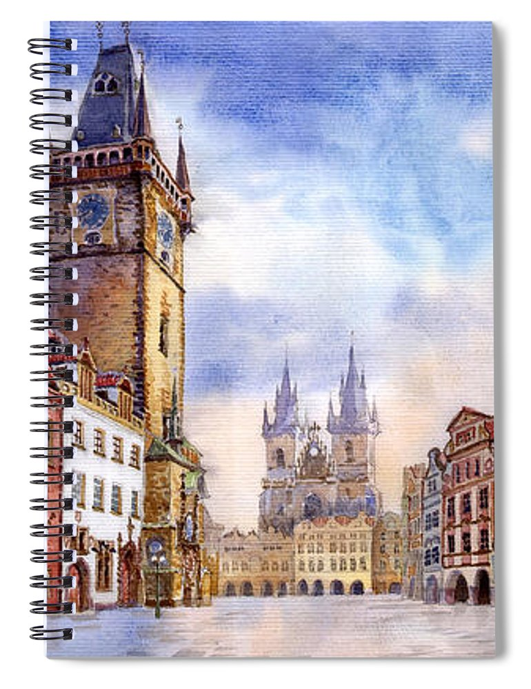 Watercolour Spiral Notebook featuring the painting Prague Old Town Square by Yuriy Shevchuk