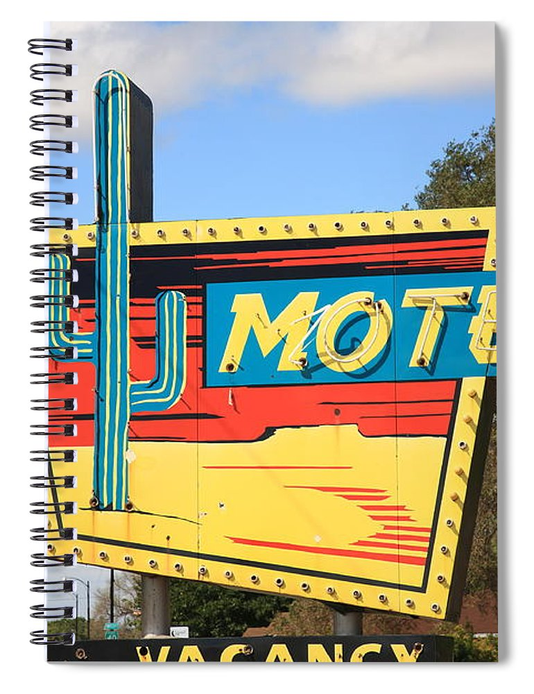 66 Spiral Notebook featuring the photograph Route 66 - Western Motel by Frank Romeo