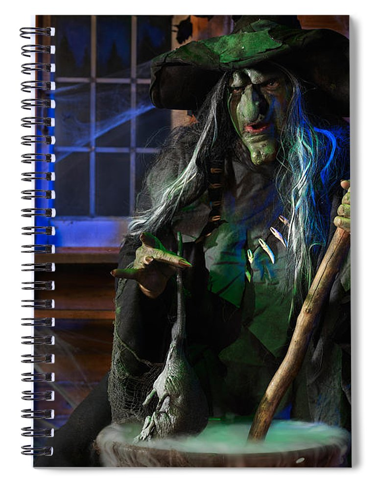 Witch Spiral Notebook featuring the photograph Scary Old Witch With A Cauldron by Oleksiy Maksymenko