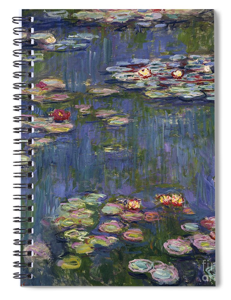 Monet Spiral Notebook featuring the painting Water Lilies, 1916 by Claude Monet