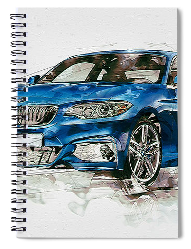 Wheels Of Fortune By Serge Averbukh Spiral Notebook featuring the photograph 2014 B M W 2 Series Coupe With 3d Badge by Serge Averbukh