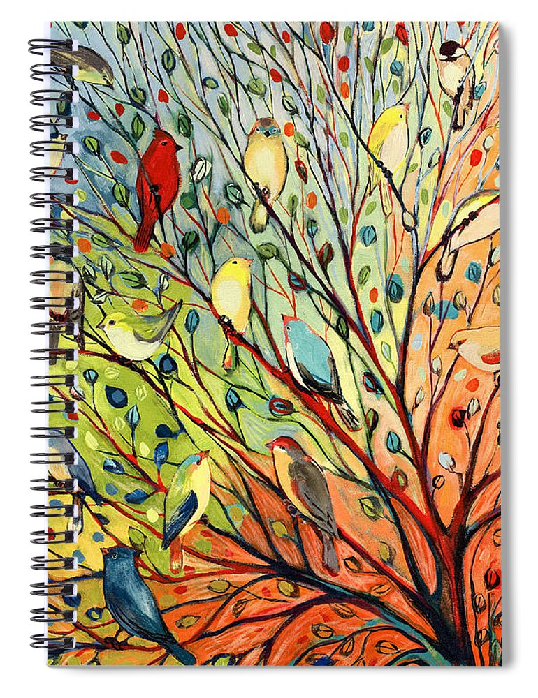 Bird Spiral Notebook featuring the painting 27 Birds by Jennifer Lommers