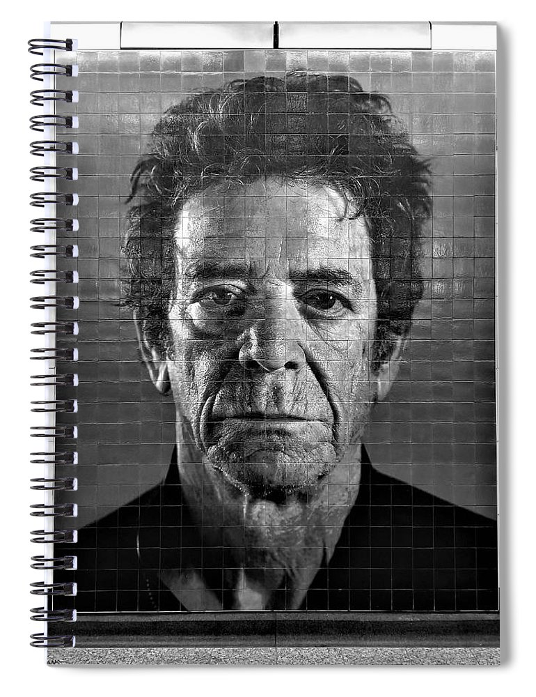 Art Spiral Notebook featuring the photograph 2nd Ave Subway Art Lou Reed B W by Rob Hans