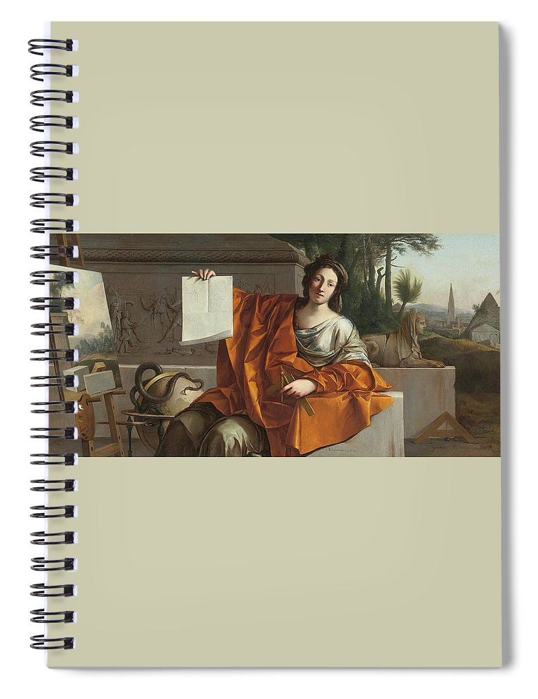 Laurent De La Hyre (french Spiral Notebook featuring the painting Allegory Of Geometry by MotionAge Designs