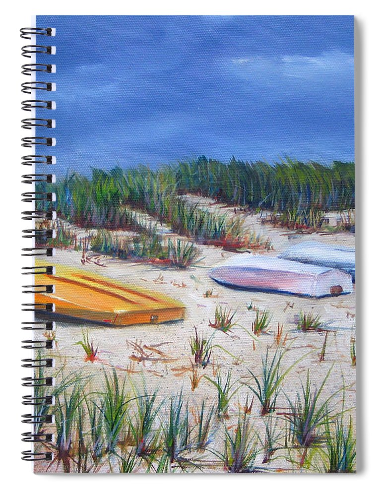 Cape Cod Spiral Notebook featuring the painting 3 Boats by Paul Walsh