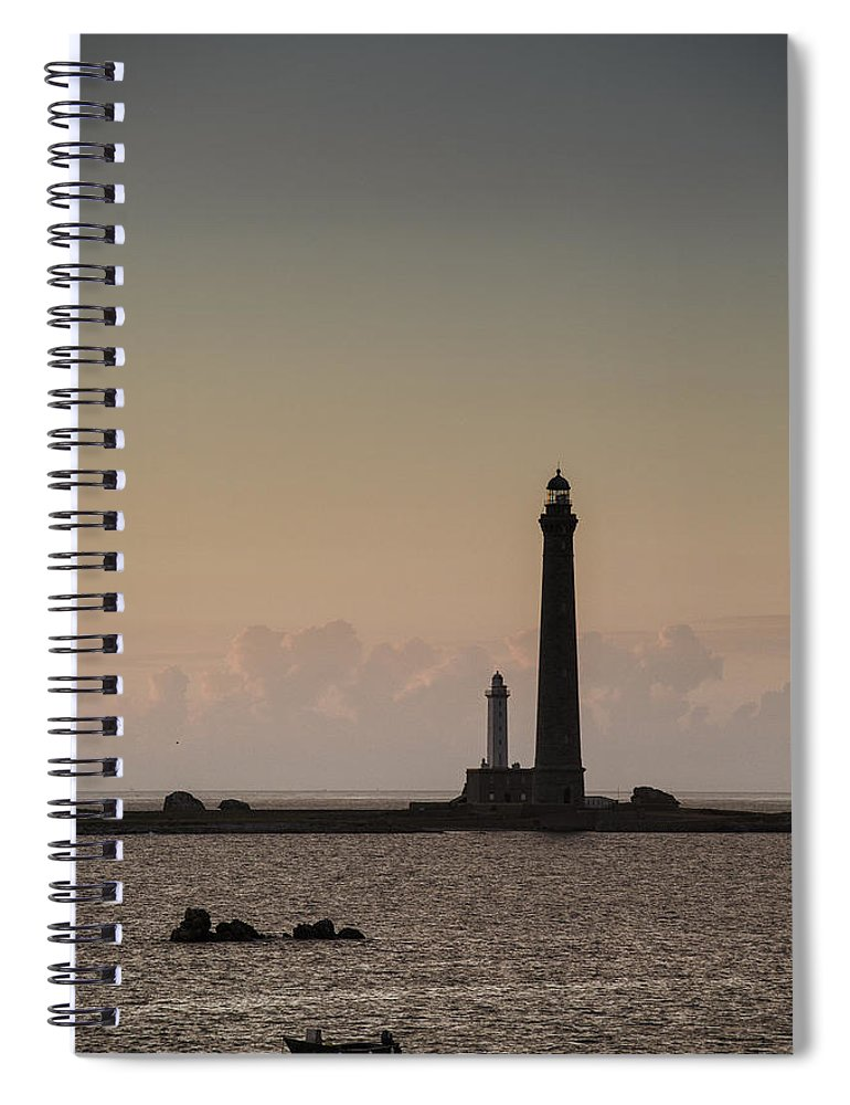 Harbor Spiral Notebook featuring the photograph Lighthouse by Nailia Schwarz