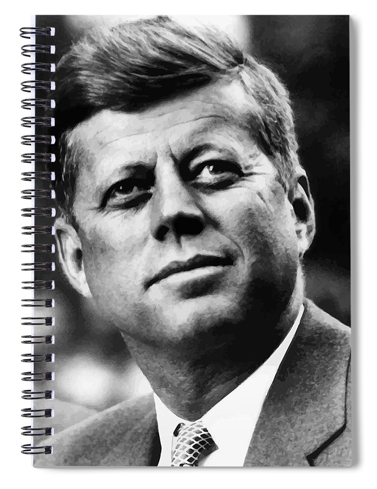 Jfk Spiral Notebook featuring the painting President Kennedy by War Is Hell Store