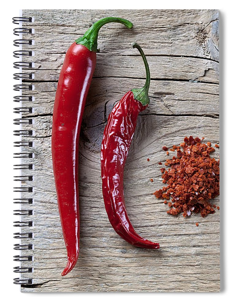 Chili Spiral Notebook featuring the photograph Red Chili Pepper by Nailia Schwarz