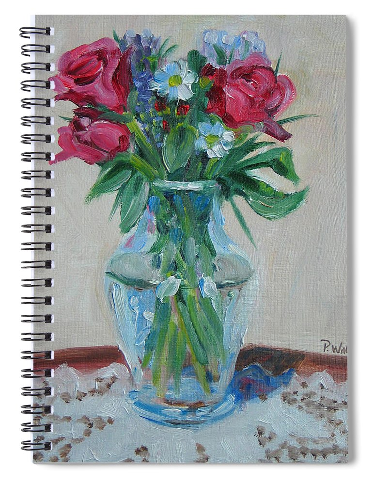 Roses Spiral Notebook featuring the painting 3 Roses by Paul Walsh