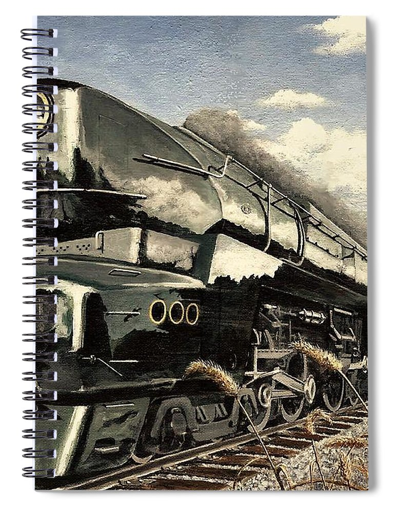 Pennsylvania Railroad Spiral Notebook featuring the painting Showin Off by David Mittner