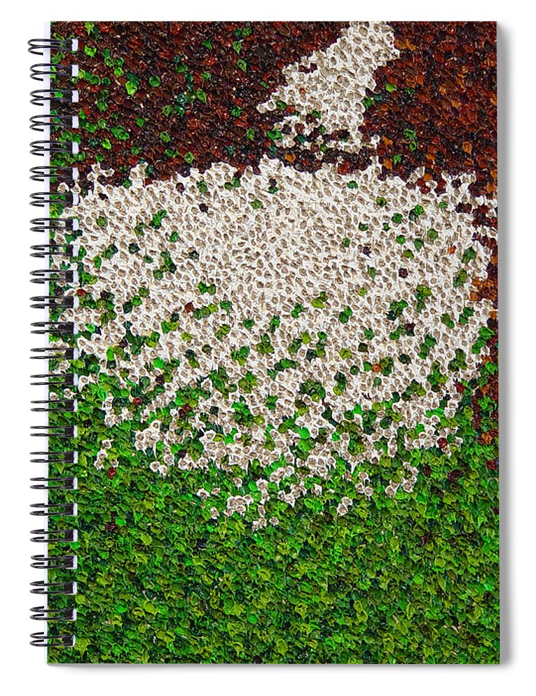 Abstract Spiral Notebook featuring the painting Soft Green with Brown, Buff and White by Dean Triolo