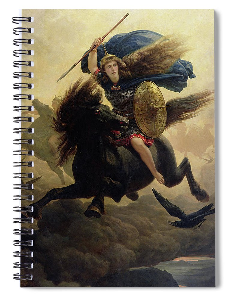 Valkyrie Spiral Notebook featuring the painting Valkyrie 3 by Peter Nicolai Arbo