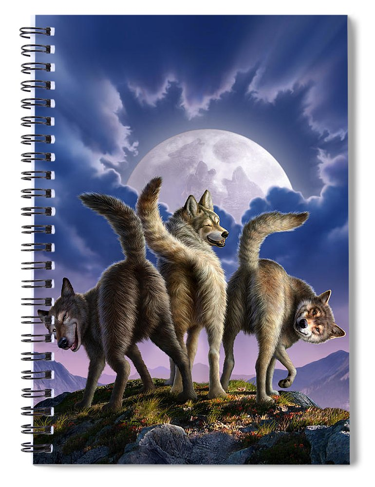 Wolf Spiral Notebook featuring the digital art 3 Wolves Mooning by Jerry LoFaro
