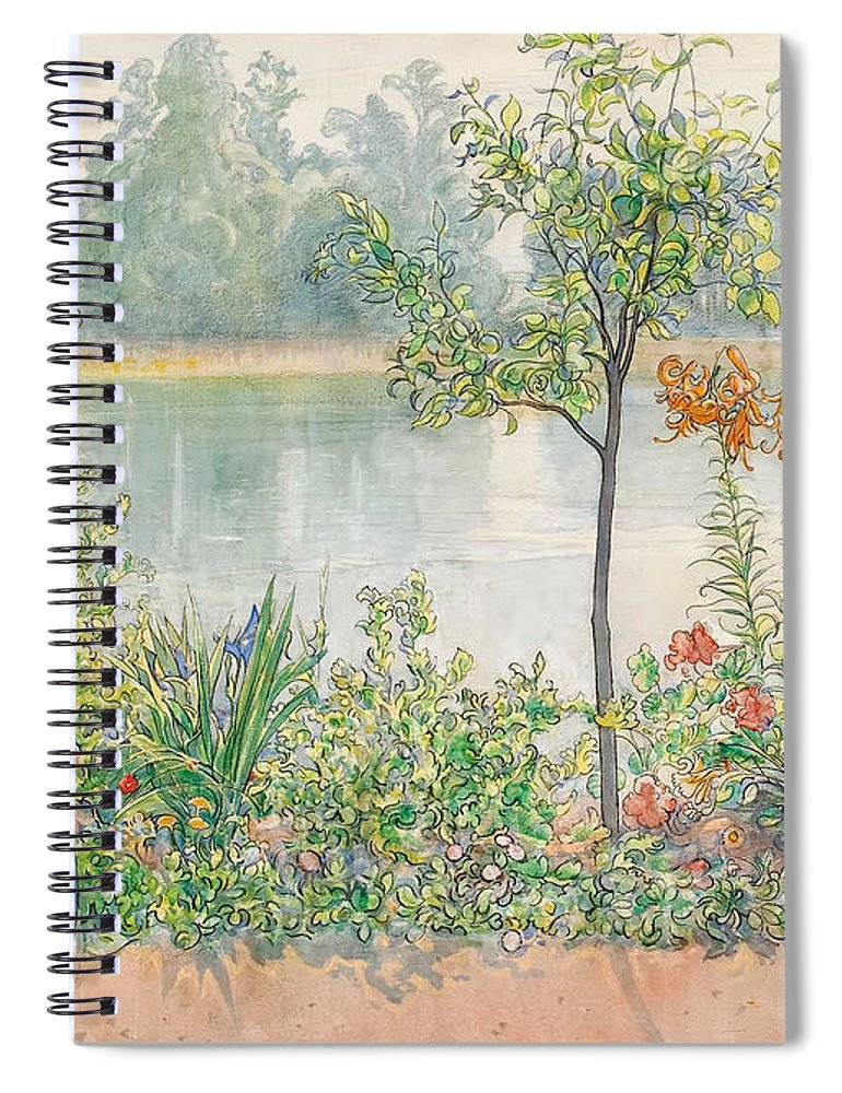 Karin By The Shore By Carl Larsson Spiral Notebook featuring the painting Karin By The Shore by Carl Larsson