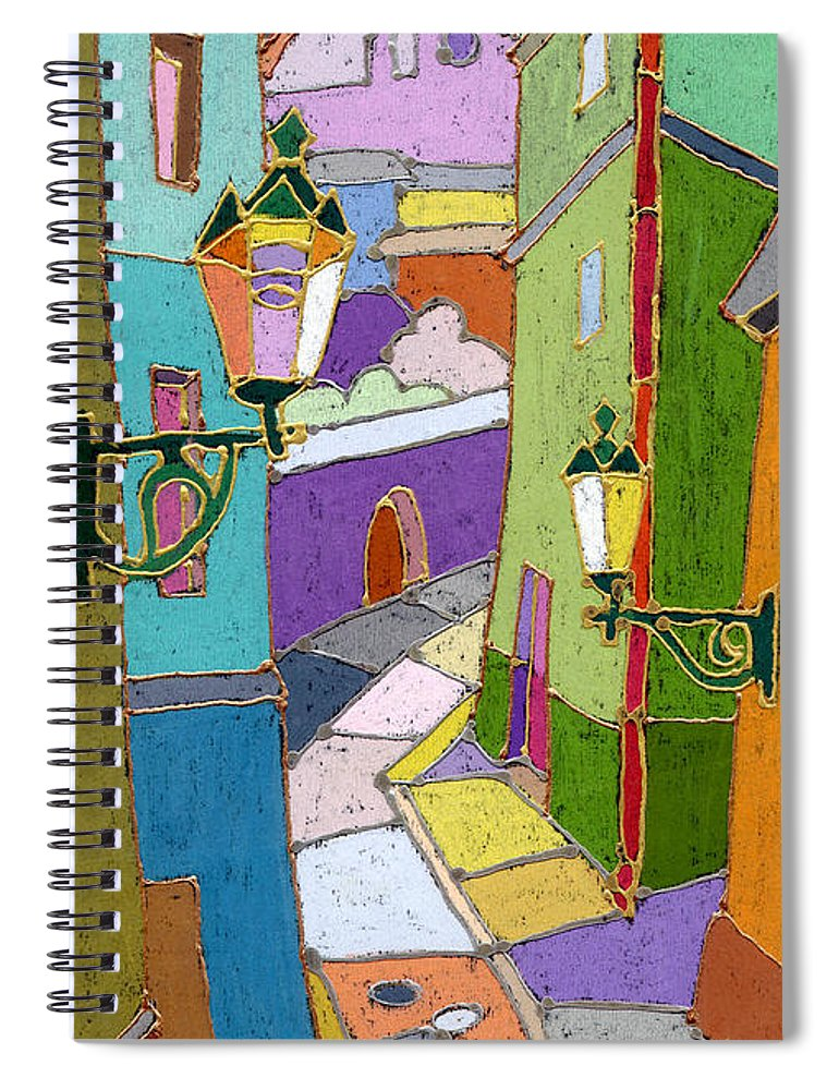 Pastel Spiral Notebook featuring the painting Prague Old Street by Yuriy Shevchuk