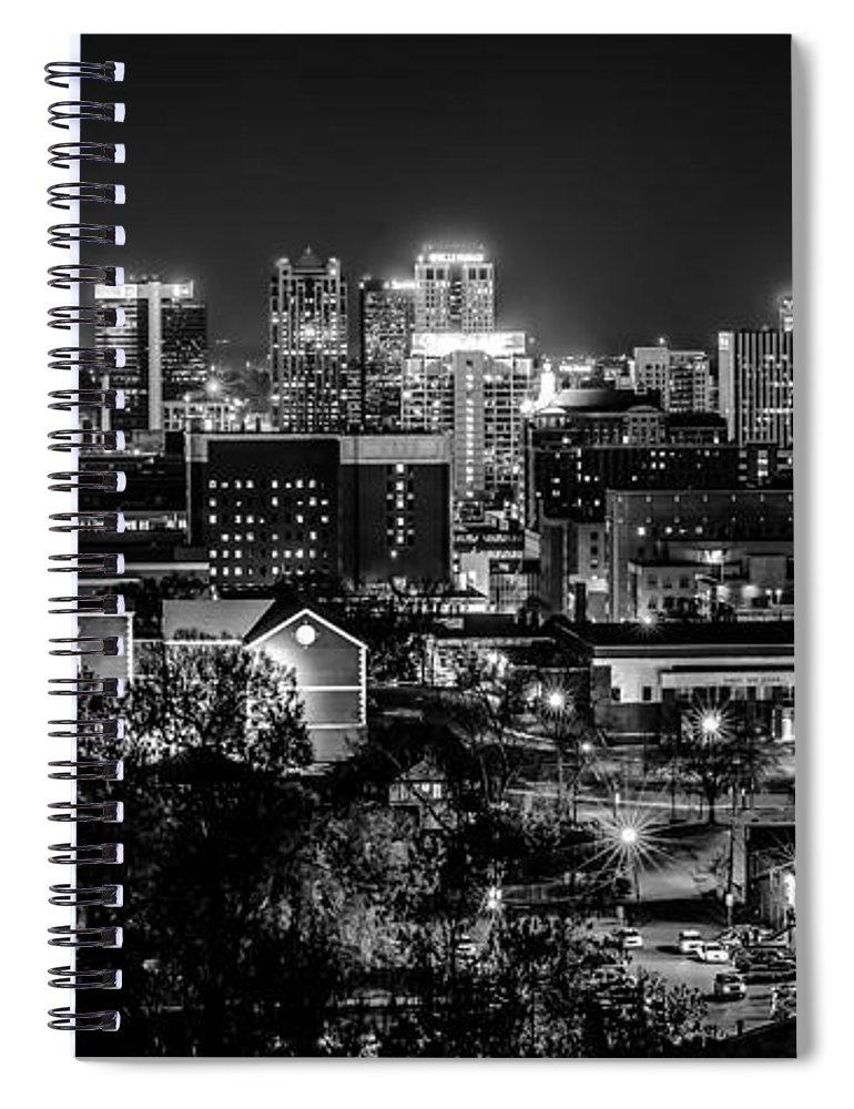 Aerial View Spiral Notebook featuring the photograph Birmingham Alabama Evening Skyline by Alex Grichenko