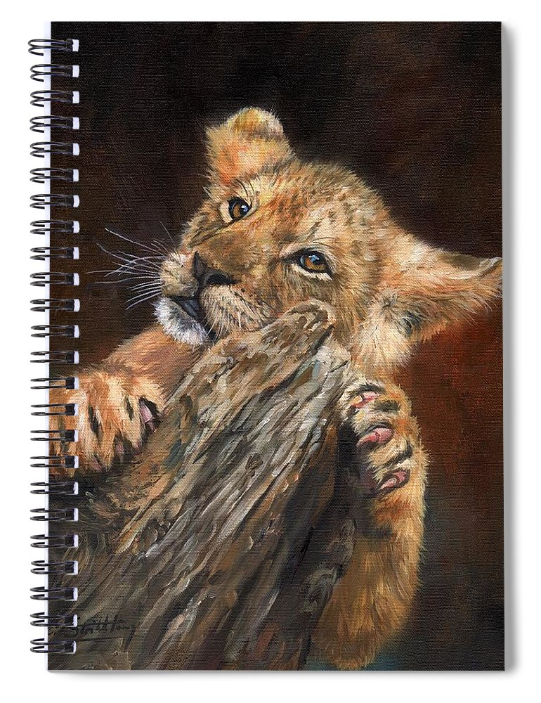 Lion Spiral Notebook featuring the painting Lion Cub by David Stribbling